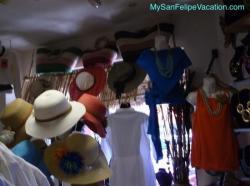 Hats on display in Karina boutique store San Felipe