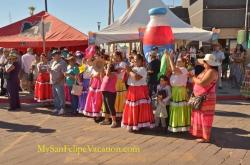 Enjoying dancing performance at the San Felipe Shrimp Festival