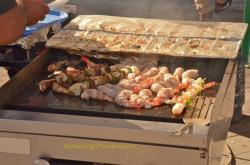 Grilled shrimp on skewers at the Shrimp Festival